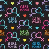Seamless vector pattern with lesbian and feminist symbols. Girl power slogan. Female symbol Stock Image