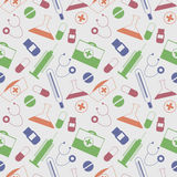 Seamless vector pattern, light chaotic background with colorful medical tools and pills Stock Photography