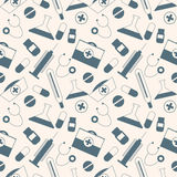 Seamless vector pattern, light chaotic background with medical tools and pills Stock Images