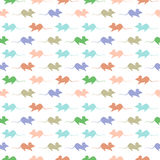 Seamless vector pattern, light colorful background with mouses, silhouette over white backdrop Stock Photography