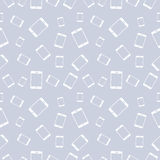 Seamless vector pattern, light pastel shadeless background with white smartphones Stock Image