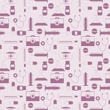 Seamless vector pattern, light pink background with medical tools and pills Royalty Free Stock Images