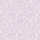 Seamless vector pattern, light pink music chaotic background with white notes.  Royalty Free Stock Photography