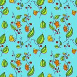 Seamless vector pattern with line drawing flowers Stock Photo