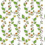 Seamless vector pattern with line drawing flowers Stock Image