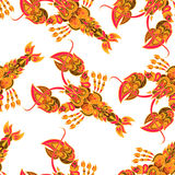 Seamless vector pattern with lobsters. Royalty Free Stock Photo