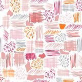 Seamless vector pattern made by hand drawn paint strokes. Retro. Stripe on monotone pink bright colors Royalty Free Stock Image