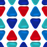 Seamless vector pattern made up of geometric shapes clay. Blue, red plasticine Stock Photography