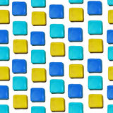 Seamless vector pattern made up of geometric shapes clay. Blue, yellow plasticine vector illustration