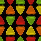 Seamless vector pattern made up of geometric shapes clay. Green, yellow, orange, red plasticine vector illustration