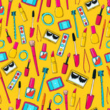 Seamless vector pattern with makeup tools Stock Images