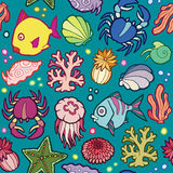 Seamless vector pattern marine animals and plants Royalty Free Stock Photo