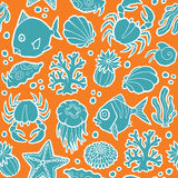 Seamless vector pattern  marine animals and plants Royalty Free Stock Image