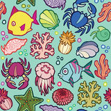 Seamless vector pattern marine animals and plants Stock Image