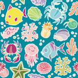 Seamless vector pattern marine animals and plants Royalty Free Stock Photos