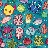 Seamless vector pattern marine animals and plants Royalty Free Stock Photography