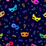 Festive abstract carnival background. Seamless vector pattern with masks and serpentine Stock Images