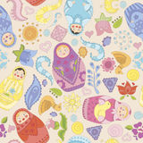 Seamless vector pattern with matryoshka dolls royalty free illustration