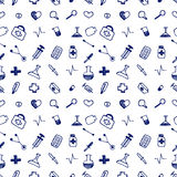 Seamless vector pattern medical tools and pills, white chaotic background with colorful pills, syringe, thermometer, bag, flask.Ha Stock Image
