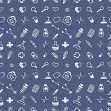 Seamless vector pattern medical tools and pills, white chaotic background with colorful pills, syringe, thermometer, bag, flask.Ha Stock Images