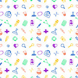 Seamless vector pattern medical tools and pills, white chaotic background with colorful pills, syringe, thermometer, bag, flask. Royalty Free Stock Photography
