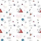 Seamless vector pattern in memphis style. royalty free illustration