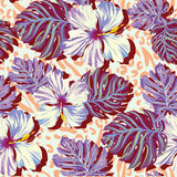 Seamless vector pattern for men, aloha flowers in muted colors. Royalty Free Stock Photography