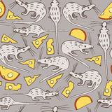 Seamless Vector Pattern with Mice and Cheese Royalty Free Stock Image