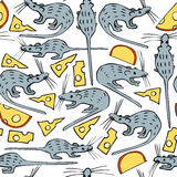 Seamless Vector Pattern with Mice and Cheese Stock Photography