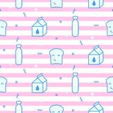 Seamless vector pattern with milk bottles and toasts. Baby repeat striped pink and blue background Stock Image