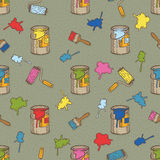 Seamless Vector Pattern with Multicolored Paint, Roller Brushes and Tin Cans Royalty Free Stock Photos