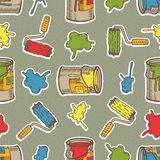 Seamless Vector Pattern with Multicolored Roller Brushes, Paint Stains and Tin Cans Royalty Free Stock Images