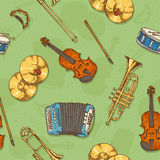 Seamless Vector Pattern With Musical Instruments Stock Image