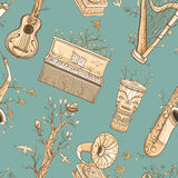Seamless vector pattern with musical instruments, trees, birds. Royalty Free Stock Images