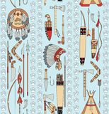 Seamless pattern with Native American attributes a Stock Photography