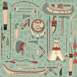 Seamless pattern with Native American attributes Stock Photo