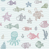 Seamless vector pattern with ocean creatures Stock Images