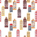 Seamless vector pattern old european city houses. Beautiful vector seamless pattern with watercolor old city houses royalty free illustration