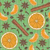 Seamless Pattern. Citrus, Spices and Coffee Beans Royalty Free Stock Photography