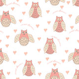 Seamless vector pattern with owl and heart. Seamless vector pattern with pastel hand drawn cute owls and hearts. Sleepy design. Textile background for baby Stock Photos