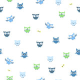 The seamless vector pattern with owls. The vector picture. EPS 10 Stock Photo