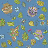 Seamless vector pattern with owls, trees, leaves and flowers Royalty Free Stock Images