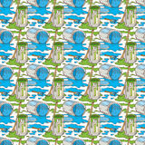 Seamless Vector Pattern with Paint and Paintbrushes. Seamless Vector Pattern with a Paintbrushes, Roller Brushes and Paint Cans of Blue and Green Paint on a Stock Photography