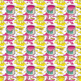 Seamless Vector Pattern with Paint and Paintbrushes. Seamless Vector Pattern with a Paintbrushes, Roller Brushes and Paint Cans of Yellow and Pink Paint on a Stock Image