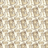 Seamless Vector Pattern with Paint and Roller Brushes, Tin Cans Royalty Free Stock Images