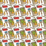 Seamless Vector Pattern with Paint and Roller Brushes, Tin Cans Stock Photos
