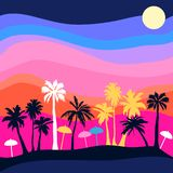 Sunset on the beach. stock illustration