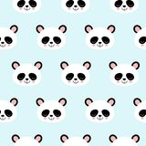 Seamless Vector Pattern panda bear pattern on light blue background. Small pandas with different gestures vector illustration