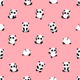 Seamless Vector Pattern: panda bear pattern on light pink background. vector illustration