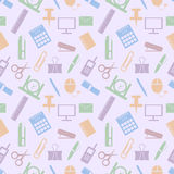 Seamless vector pattern. Pastel background with elements of colorful office supplies on the light backdrop Stock Images